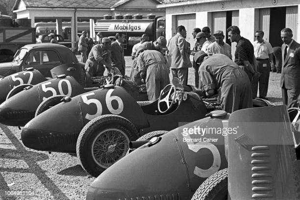 Maserati A6GCM, Grand Prix of Italy, Autodromo Nazionale Monza, 13 September 1953. The Maserati team in the Monza paddock on the occasion of the 1953...