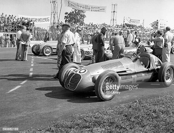 Maserati and a Talbot Lago on the grid at the Italian GP at Monza 1949