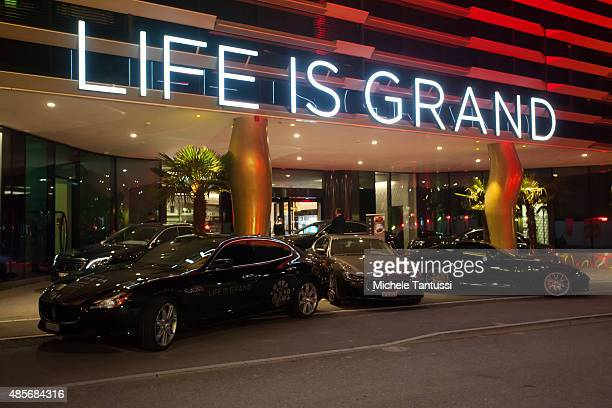 Maserati cars stands in front of the main entrance during the opening ceremony at the Kameha Hotel on August 28 2015 in Zurich Switzerland