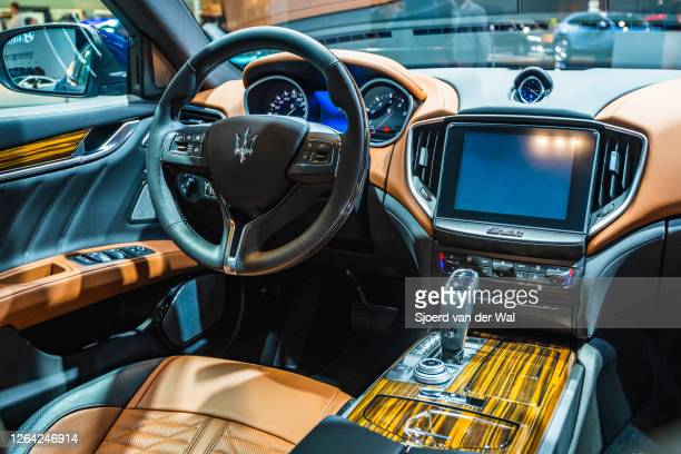 Maserati Ghibli luxury performance sedan interior non display at Brussels Expo on January 9, 2020 in Brussels, Belgium. The car is equipped with a...