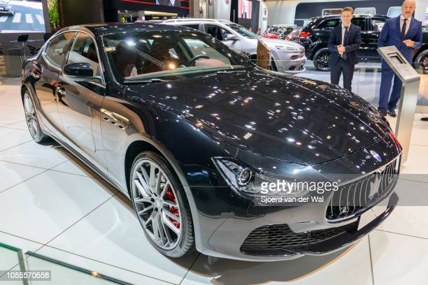 Maserati Ghibli mid-size luxury four door high performance saloon car on display at Brussels Expo on January 13, 2017 in Brussels, Belgium. The...