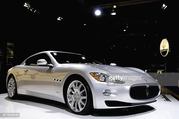 maserati granturismo italian sports car at a motor show - maserati stock pictures, royalty-free photos & images