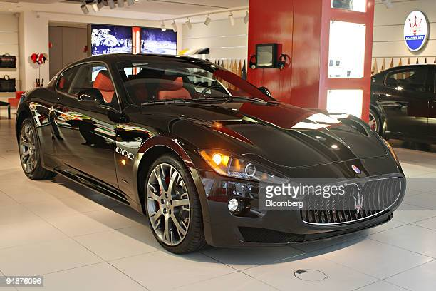 Maserati GranTurismo S sits on display in the Ferrari Maserati showroom in New York US on Tuesday March 18 2008 The GranTurismo S made its world...
