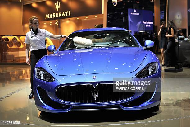 A Maserati GranTurismo Sport is displayed as it makes its World premiere at the Italian car maker's booth on March 6 during a press day ahead of the...