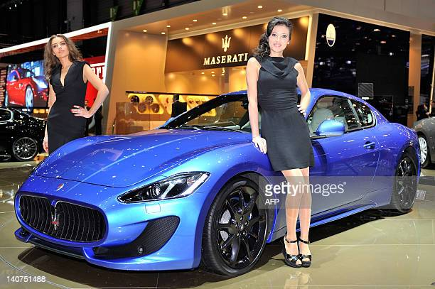 A Maserati GranTurismo Sport is displayed at the Italian carmaker's booth on March 6 2012 during a press day ahead of the 82nd Geneva Car Show in...