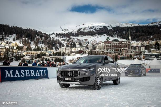 Maserati Levante are displayed during the Snow Polo World Cup St Moritz 2018 on January 27 2018 in St Moritz Switzerland