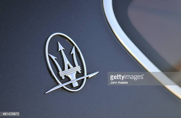 Maserati logo is pictured on October 4, 2015 in Southend on Sea, England.