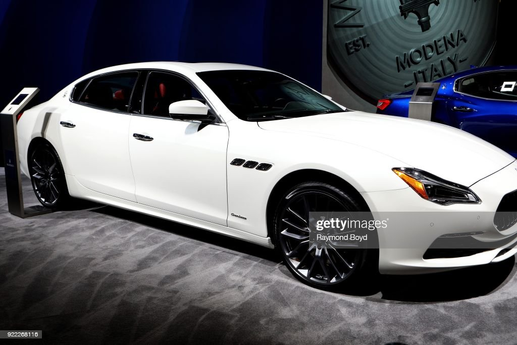 Maserati Quattraporte is on display at the 110th Annual Chicago Auto Show at McCormick Place in Chicago, Illinois on February 9, 2018.