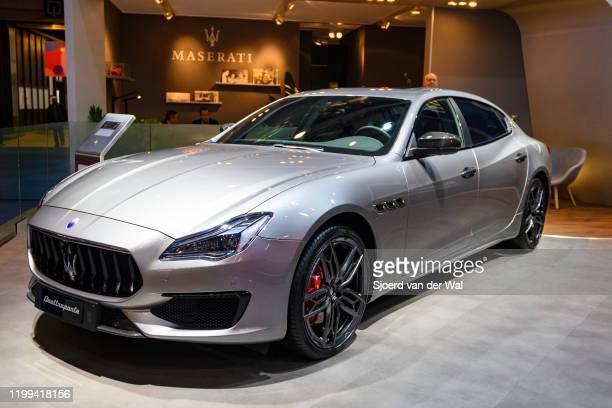 Maserati Quattroporte VI luxury performance sedan on display at Brussels Expo on January 9, 2020 in Brussels, Belgium. The Quattroporte VI is...