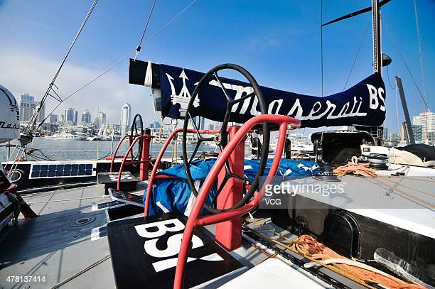 'Maserati' shipboat which is said to be the world fastest sailboat moors at Qingdao Olympic Sailing Center on June 22 2015 in Qingdao Shandong...