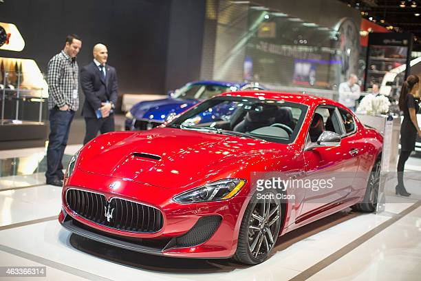 Maserati shows of the GranTurismo MC at the Chicago Auto Show during the media preview on February 13 2015 in Chicago Illinois The car has a base...