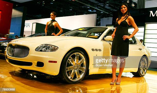 Maserati shows of the Quattroporte on the show floor during the press preview days at the North American International Auto show January 14 2008 at...