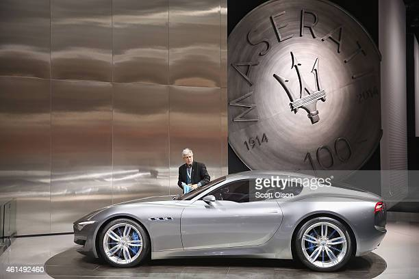 Maserati shows off their Alfieri concept car during the media preview at the North American International Auto Show on January 13 2015 in Detroit...