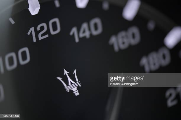 Maserati speedometer logo is seen during the 87th Geneva International Motor Show on March 8, 2017 in Geneva, Switzerland. The International Motor...