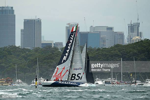 'Maserati' tacks during the start of the 2015 Sydney to Hobart on December 26 2015 in Sydney Australia