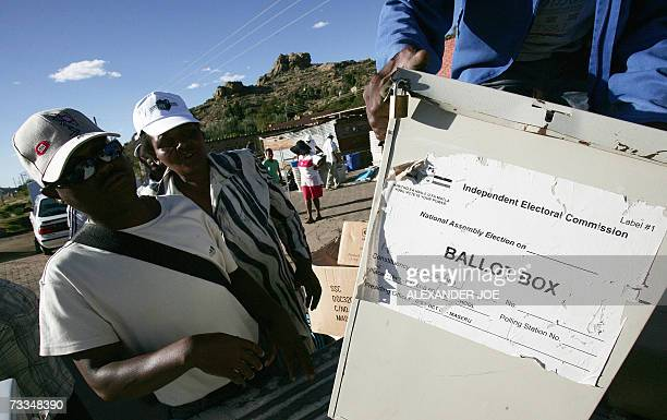 Members of Independent Electoral Commission pack ballet boxes 16 February in Maseru for the 17 February 2007 elections. Voters in the African kingdom...