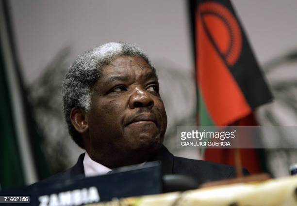 Zambian president Levy Mwanawasa attends, 17 August 2006, the opening session of the 26th SADC heads of state summit at the conference center in...