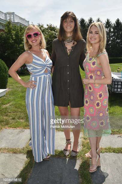 Masha Kalinina Miller Bowron and Amanda Hearst attend A Maison de Mode Summer Fete hosted by Amanda Hearst at Private Residence on August 25 2018 in...