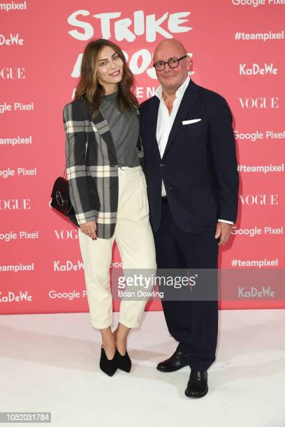 Masha Sedgwick and Andre Maeder attend the 'Strike A Pose Weekend En Vogue' event at KaDeWe on October 12 2018 in Berlin Germany