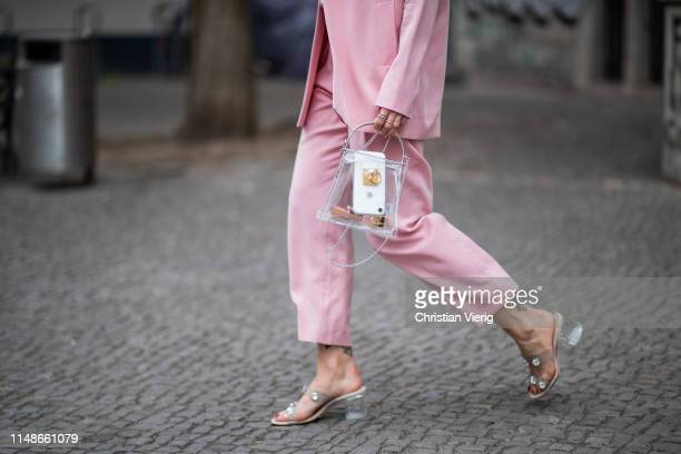 Masha Sedgwick is seen wearing pink blazer suit and pants Iris Ink white Jacquemus tshirt see through bag Topshop Sandro sandals hair clip earrings...