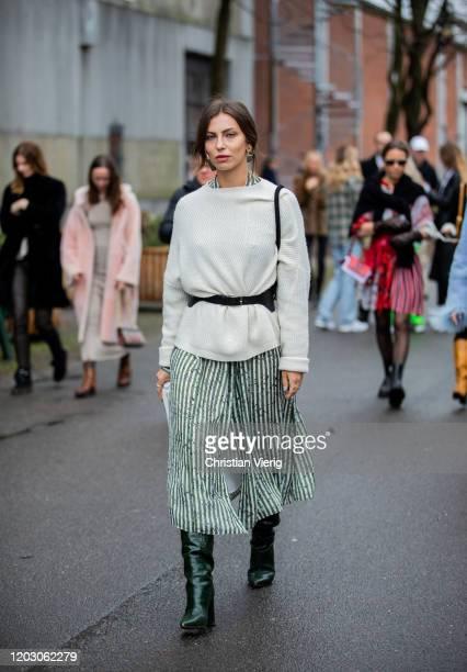 Masha Sedgwick seen wearing knit belt striped skirt outside Lala Berlin during Copenhagen Fashion Week Autumn/Winter 2020 Day 3 on January 30 2020 in...