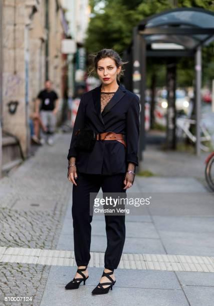 Masha Sedgwick wearing a Dorothee Schumacher suit during the MercedesBenz Fashion Week Berlin Spring/Summer 2018 at Kaufhaus Jandorf on July 6 2017...
