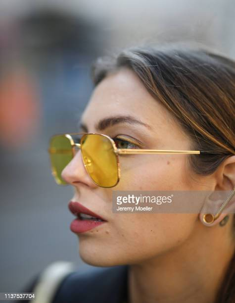 Masha Sedgwick wearing yellow Vogue sunglasses on March 20 2019 in Berlin Germany