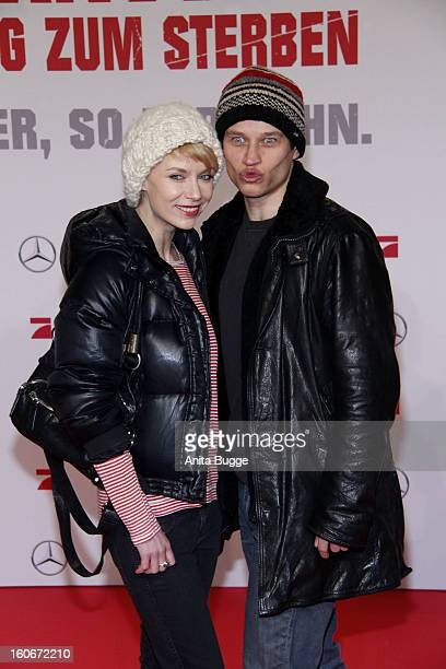 Masha Tokareva and Vinzenz Kiefer attend the 'Die Hard - Ein Guter Tag Zum Sterben' Germany premiere at CineStar Sony Center on February 4, 2013 in...