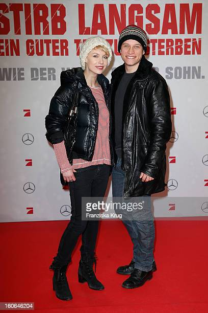Masha Tokareva and Vinzenz Kiefer attend the German premiere of 'Die Hard - Ein Guter Tag Zum Sterben' at the cinestar Potsdamer Platz on February 4,...