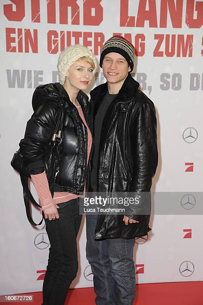 Masha Tokareva and Vinzenz Kiefer attend the premiere of 'Die Hard - Ein Guter Tag Zum Sterben' at Sony Center on February 4, 2013 in Berlin, Germany.