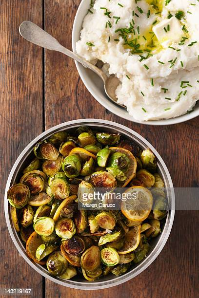 Mashed potato and brussels sprout dishes