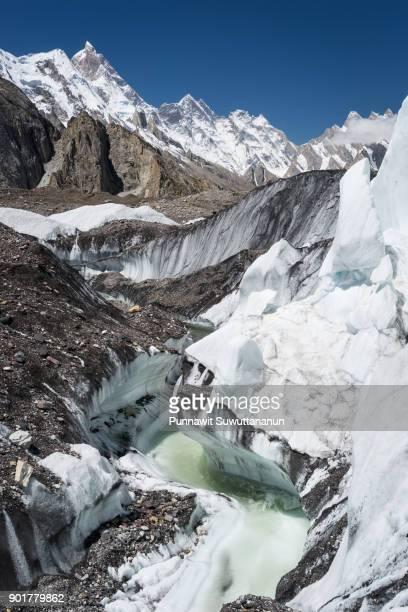 Masherbrum or K1 mountain peak behind Baltoro glacier, K2 trek in Karakoram range, Pakistan