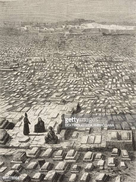 Mashhad cemetery Iran drawing by Alexandre de Bar from Narrative of a Journey into Khorasan by N de Khanikoff illustration from Il Giro del mondo...