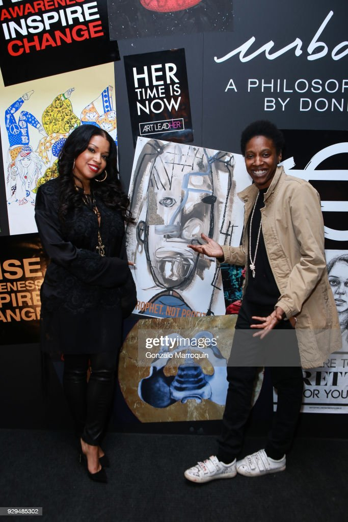 Mashonda Tifrere and artist Genesis Tramaine during the ArtLeadHER Presents 'Her Time Is Now' at Urban Zen on March 8, 2018 in New York City.