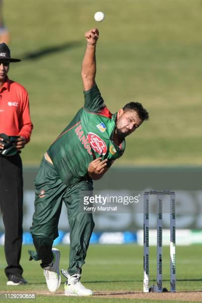 Mashrafe Bin Mortaza of Bangladesh bowls during Game 1 of the One Day International series between New Zealand v Bangladesh at McLean Park on...