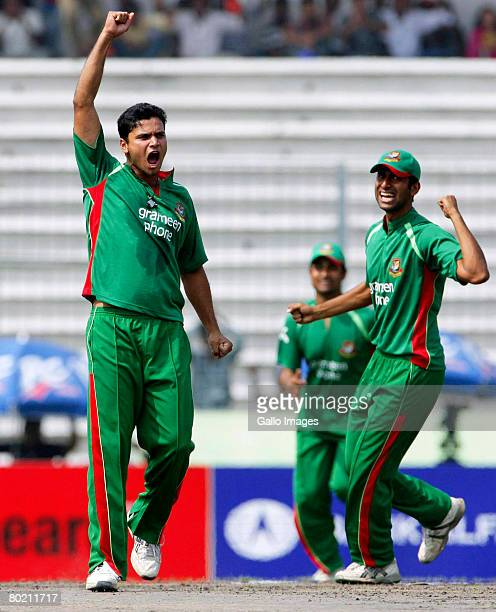 Mashrafe Bin Mortaza of Bangladesh celebrates dismissing Herschelle Gibbs of South Africa during the second One Day International match between...