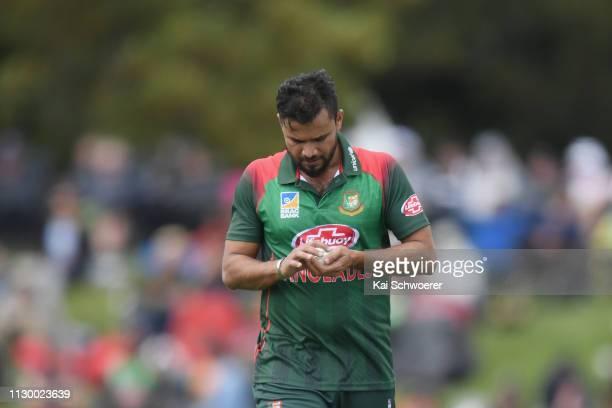 Mashrafe Bin Mortaza of Bangladesh looks on during Game 2 of the One Day International series between New Zealand and Bangladesh at Hagley Oval on...