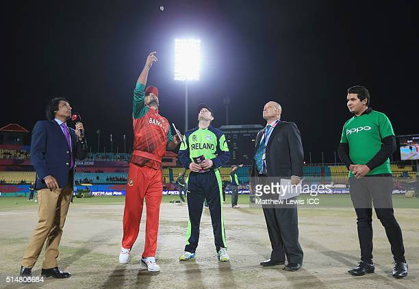Mashrafe Mortaza Captain of Bangladesh and William Porterfield Captain of Ireland pictured during the coin toss during the ICC World Twenty20 India...