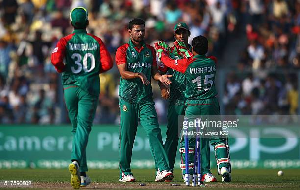 Mashrafe Mortaza Captain of Bangladesh is congratulated after bowling Corey Anderson of New Zealand during the ICC World Twenty20 India 2016 match...