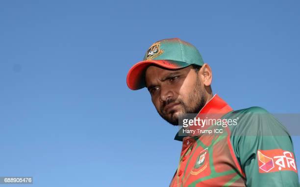 Mashrafe Mortaza Captain of Bangladesh looks on during the ICC Champions Trophy Warmup match between Bangladesh and Pakistan at Edgbaston on May 27...