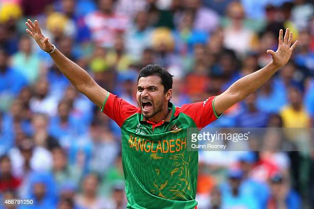 Mashrafe Mortaza of Bangladesh appeals for a wicket during the 2015 ICC Cricket World Cup match between India and Bangldesh at Melbourne Cricket...