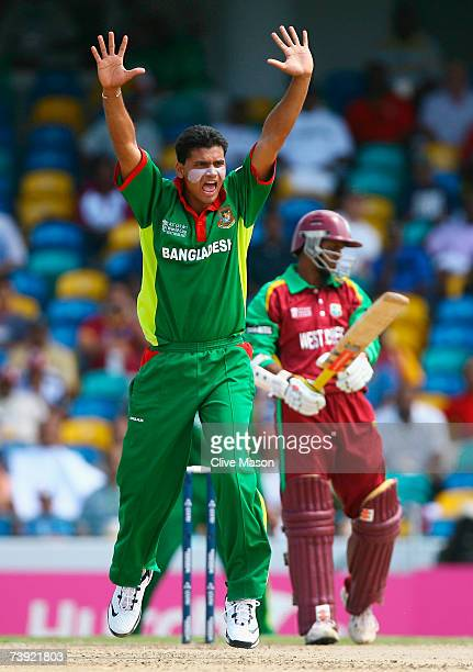 Mashrafe Mortaza of Bangladesh appeals for the wicket of Shivnarine Chanderpaul of West Indies during the ICC Cricket World Cup Super Eights match...
