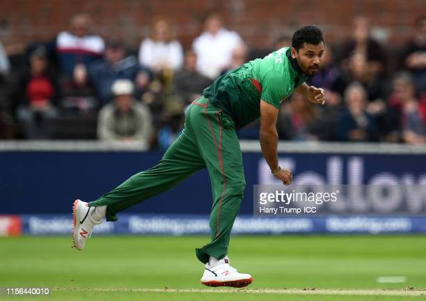 Mashrafe Mortaza of Bangladesh bowls during the Group Stage match of the ICC Cricket World Cup 2019 between West Indies and Bangladesh at The County...