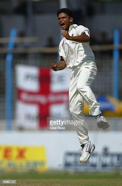 Mashrafe Mortaza of Bangladesh celebrates a wicket during the 2nd Test against Bangladesh at the Chittagong Stadium , on October 30, 2003 in...