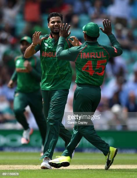 Mashrafe Mortaza of Bangladesh celebrates dismissing Jason Roy of England during the ICC Champions Trophy group match between England and Bangladesh...
