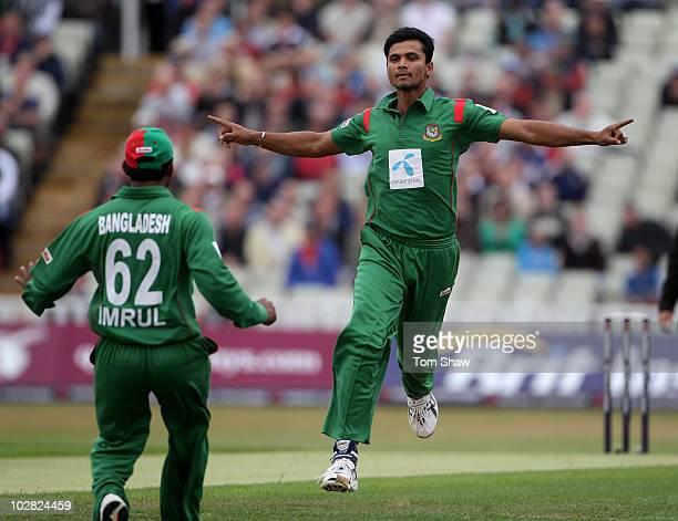 Mashrafe Mortaza of Bangladesh celebrates taking the wicket of Craig Kieswetter of England during the NatWest One Day International match between...