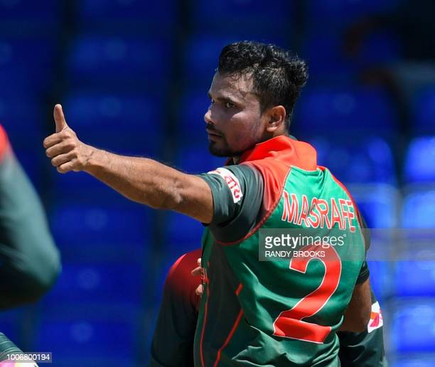 Mashrafe Mortaza of Bangladesh celebrates the dismissal of Evin Lewis of West Indies during the 3rd and final ODI match between West Indies and...