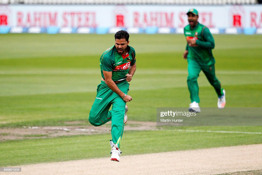 Mashrafe Mortaza of Bangladesh celebrates the wicket of Martin Guptill of New Zealand during the second One Day International match between New Zealand and Bangladesh at Saxton Field on December 29, 2016 in Nelson, New Zealand.