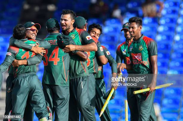 Mashrafe Mortaza of Bangladesh celebrates winning the 3rd and final ODI match between West Indies and Bangladesh at Warner Park Basseterre St Kitts...