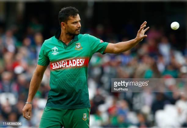 Mashrafe Mortaza of Bangladesh during ICC Cricket World Cup between Bangladesh and New Zealand at the Oval Stadium on 05 June 2019 in London England